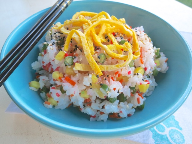 ... sushi rice or chirashi sushi which means scattered sushi hot rice is