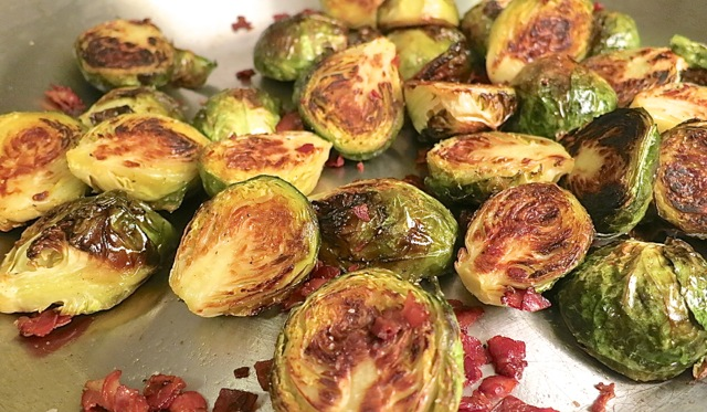 Roasted Brussel Sprouts with Crispy Pancetta |