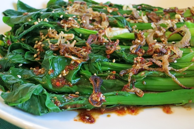 Choy Sum with Sesame Soy Chili Dressing & Fried Shallots | My Lilikoi ...