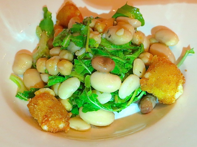 Bean & Arugula Salad with Fried Parmesan