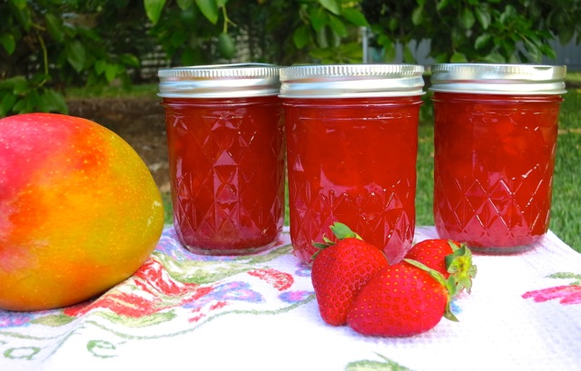 Mango Strawberry Jam Jars