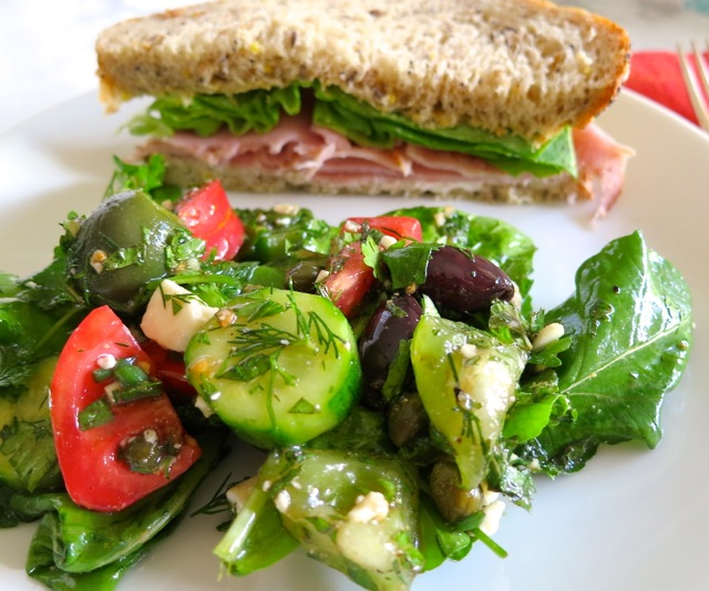 Herb salad and sandwich