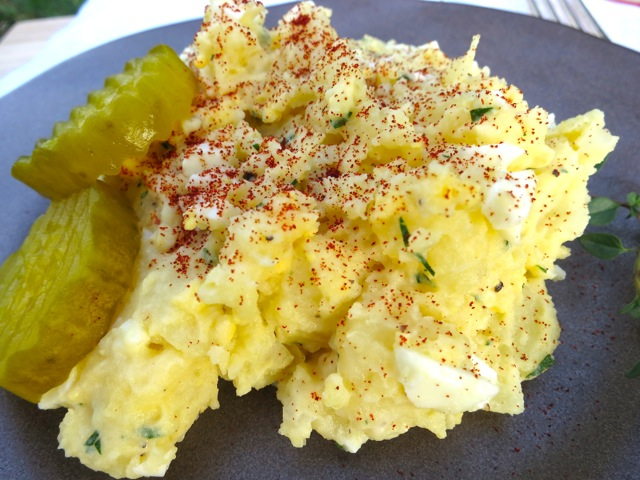 Eggy Potato Salad with Sweet Pickles