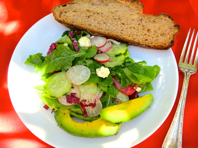... and butter lettuce with cucumbers tomatoes radishes avocado and feta