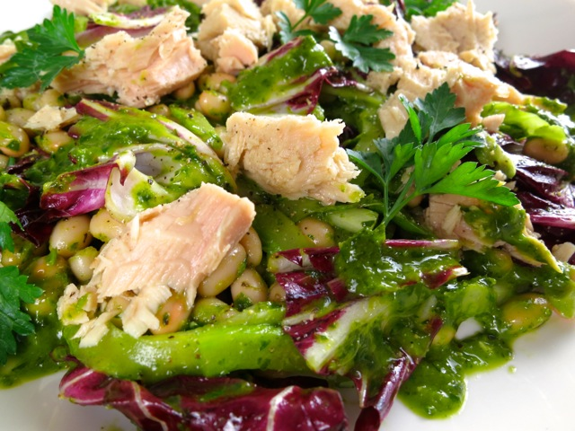 White Bean & Tuna Salad with Radicchio & Parsley Vinaigrette