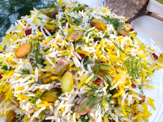 Saffron Rice with Barberries, Pistachio & Herbs