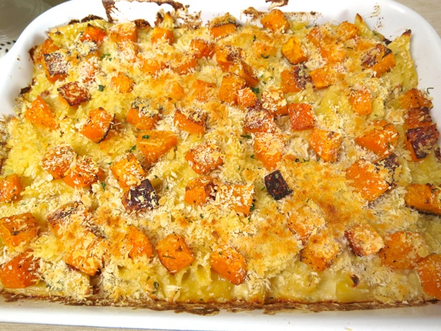 Baked Mac & Cheese with Butternut Squash & Bacon