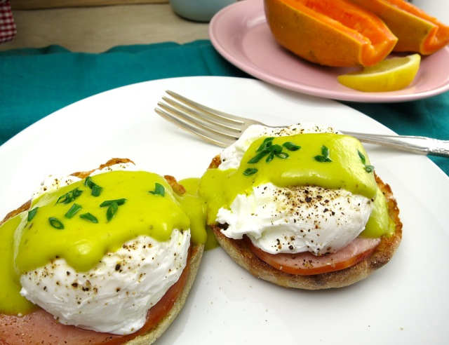 Eggs Benedict with Avocado Hollandaise