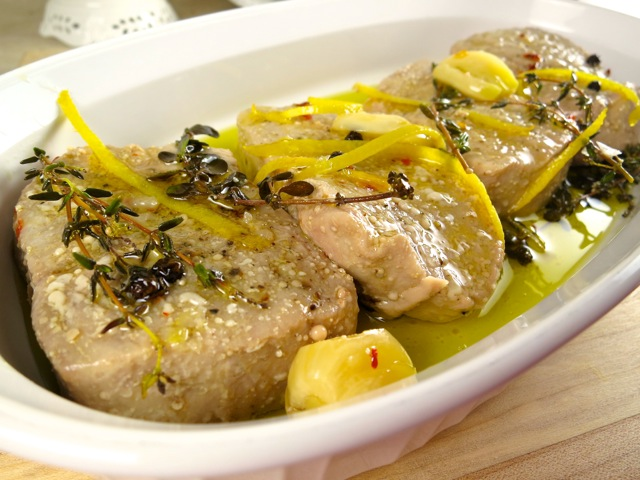 Tuna Conserva with Thyme, Lemon Zest, Garlic, Marjoram and Black Peppercorns