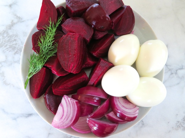Beets, Red Onion & Hard-Boiled Eggs