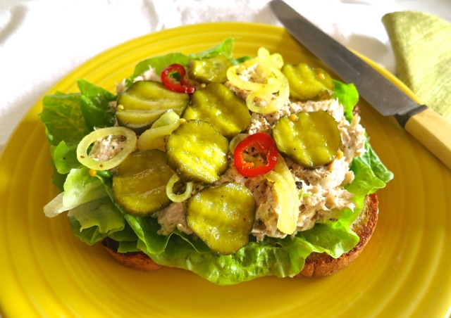 Tuna Sandwich with Bread & Butter Pickles