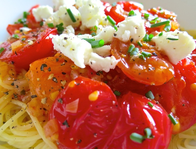 Cherry Tomato Vinaigrette on Capellini