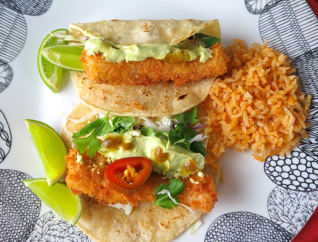 The best ever crispy fish tacos with avocado crema my for Breaded fish tacos