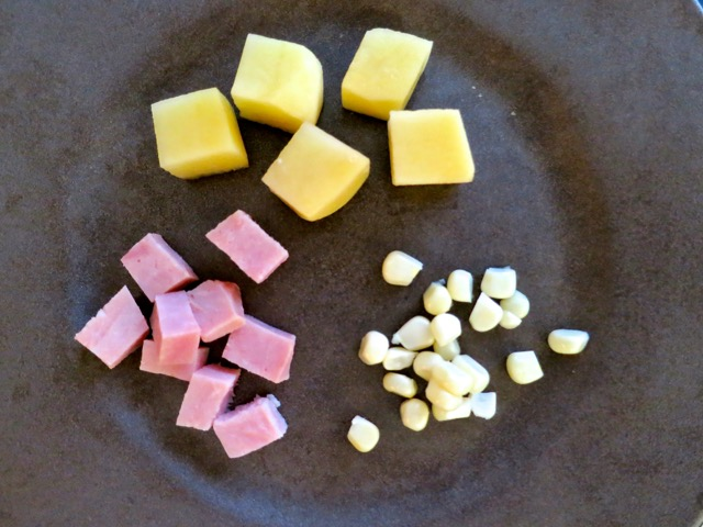 Yukon Potato Cubes, Diced Ham, Maui Corn
