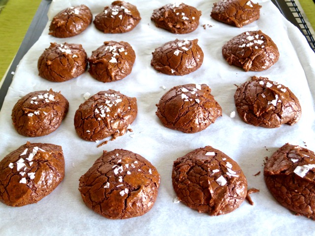 Salted Chocolate Rye Cookies out of the Oven