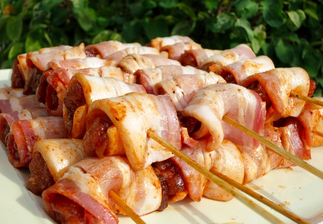 Preparing Smoked Bacon Wrapped Chicken Skewers