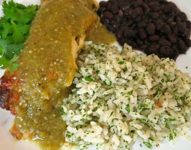 Garlicky White Rice with Cilantro, Enchiladas & Black Beans