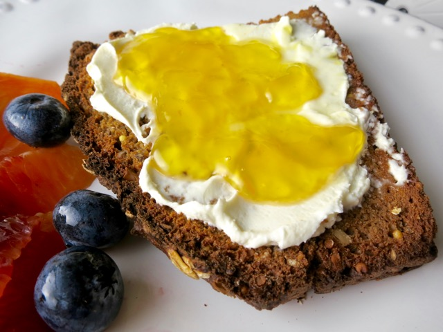 Cream Cheese & Lilikoi Jelly on Seeded Whole Grain Soda Bread