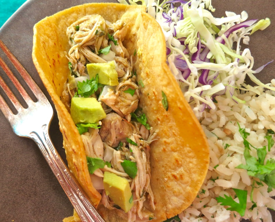 Pressure Cooker Chicken Chile Verde Tacos