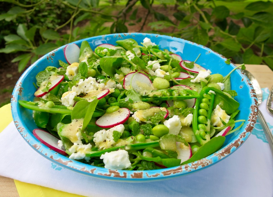 Pea Salad with Feta, Mint & Lemon-Dijon Dressing