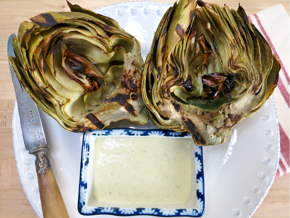 Grilled Artichokes with Nobis Dressing