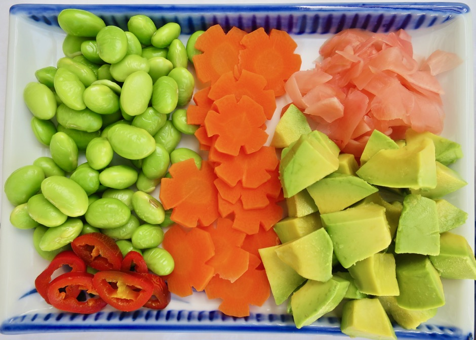 Jalapeno,Edamame, Carrot, Pickled Ginger, Avocado