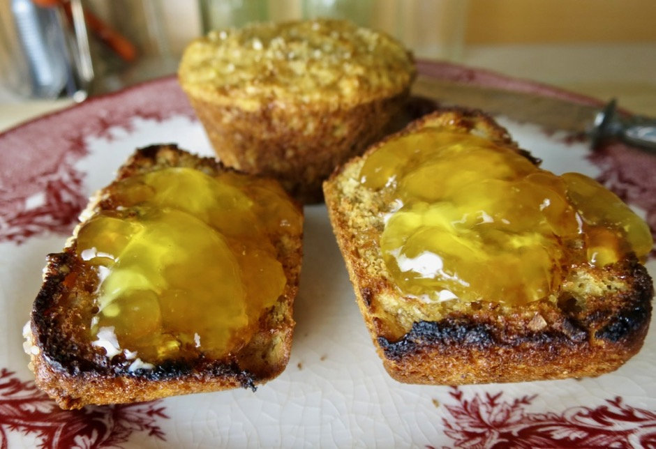 Toasted Whole Grain Muffins with Lilikoi Jelly