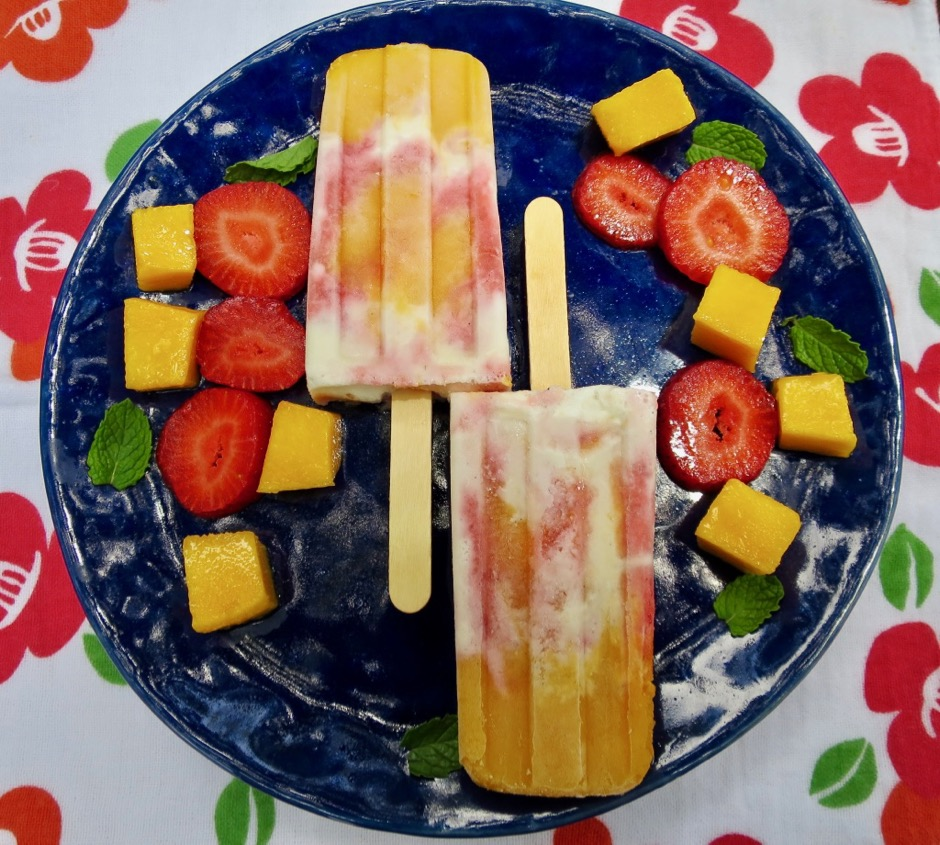Mango Strawberry Vanilla Ice Cream Popsicles