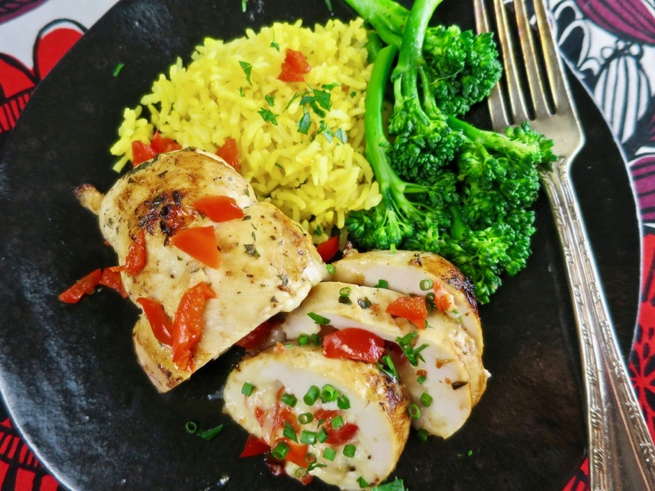 Stuffed Chicken Breasts with Peppadew Peppers, Cheese and Herbs