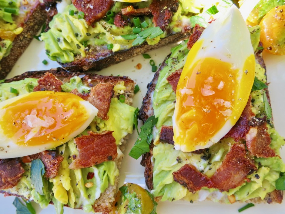 Eggs on Avocado Bacon Toast