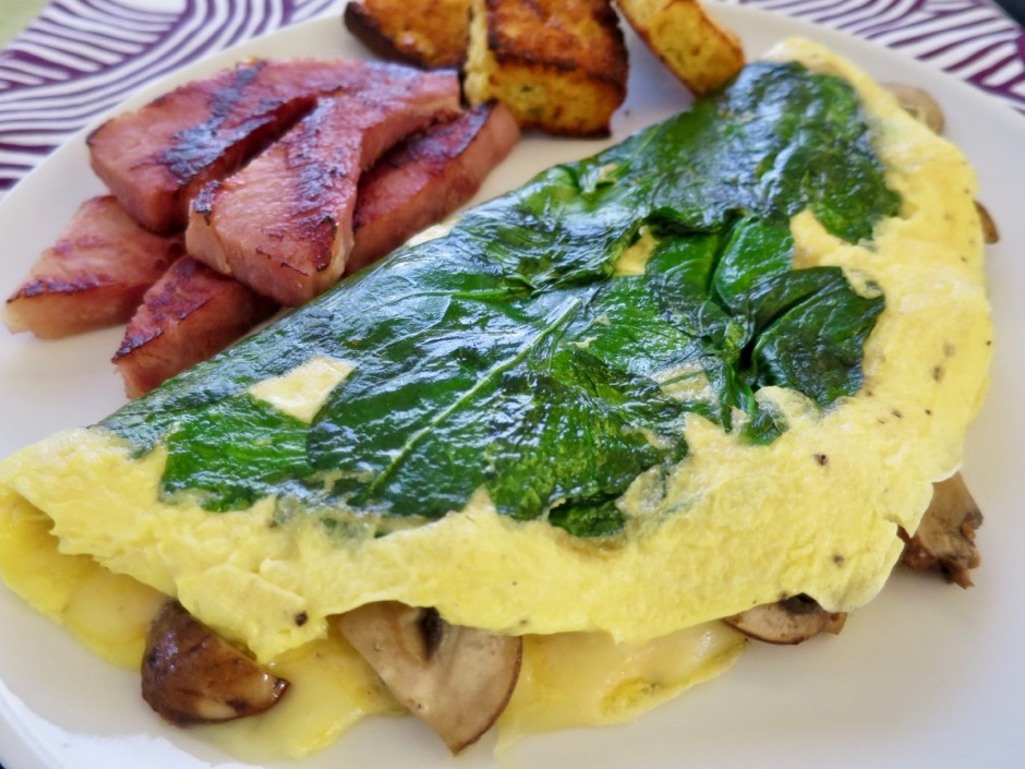 Spinach, Mushroom & Cheese Omelet